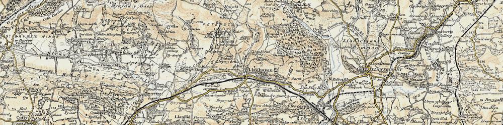 Old map of Llanharan in 1899-1900