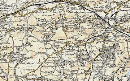 Old map of Llanharry in 1899-1900