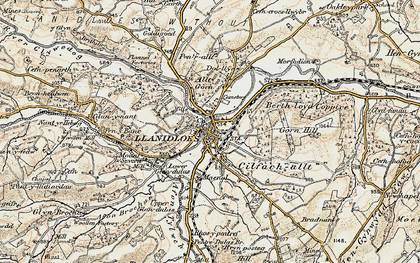 Old map of Llanidloes in 1901-1903