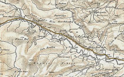 Old map of Afon Bidno in 1901-1903