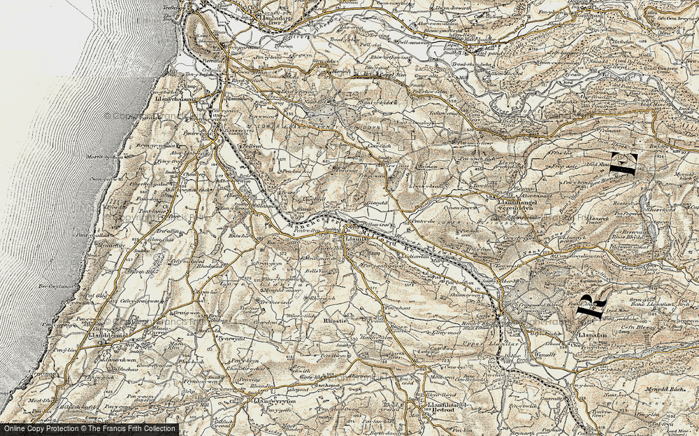 Old Map of Historic Map covering Lanlwyd in 1901-1903