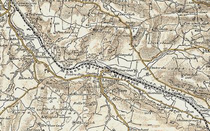 Old map of Llanilar in 1901-1903