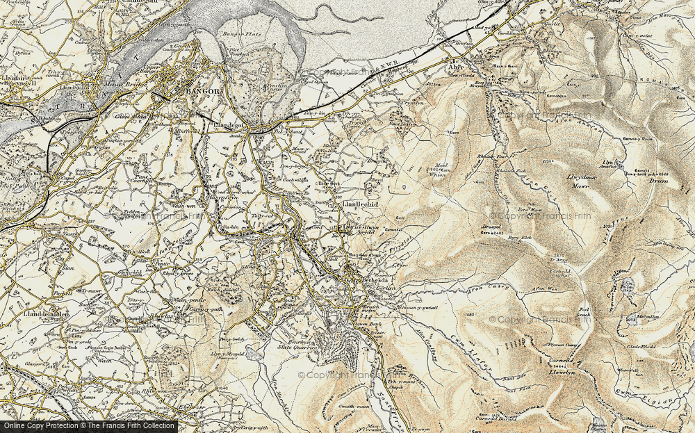 Old Map of Historic Map covering Afon Ogwen in 1903-1910