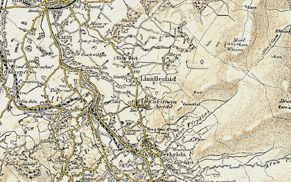Old map of Afon y Llan in 1903-1910