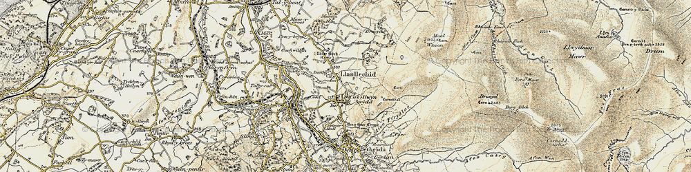 Old map of Llanllechid in 1903-1910