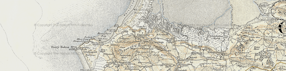 Old map of Whiteford Sands in 1900-1901