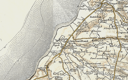 Old map of Llanon in 1901-1903