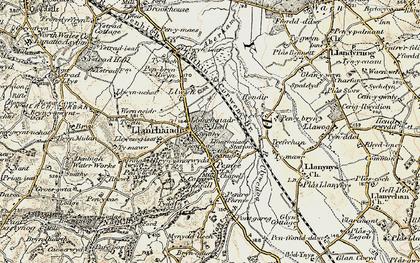 Old map of Llanrhaeadr in 1902-1903