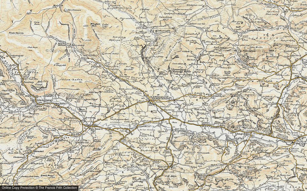 Old Map of Historic Map covering Afon Rhaeadr in 1902-1903