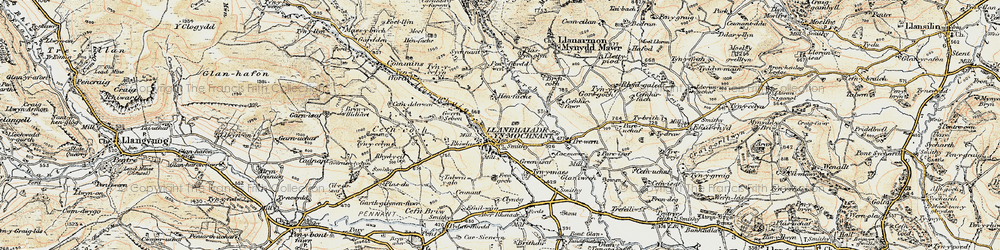 Old map of Afon Rhaeadr in 1902-1903