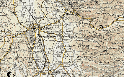 Old map of Bacheirig in 1902-1903