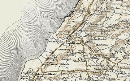 Old map of Llanrhystud in 1901-1903