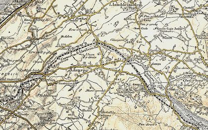 Old map of Llanrug in 1903-1910