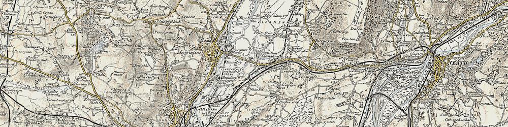 Old map of Llansamlet in 1900-1901
