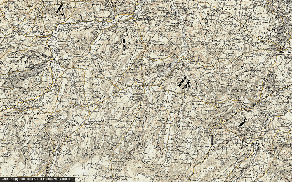 Old Map of Historic Map covering Acrau in 1902-1903