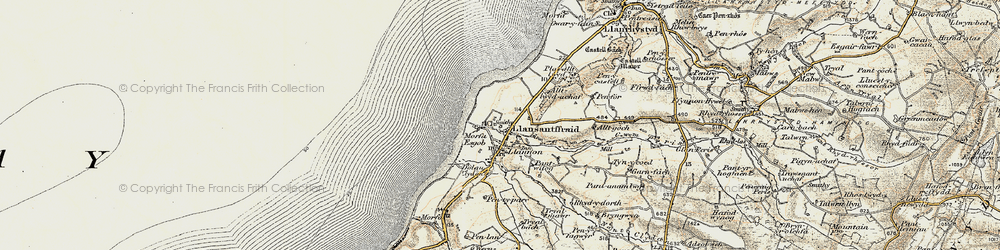 Old map of Llansantffraed in 1901-1903