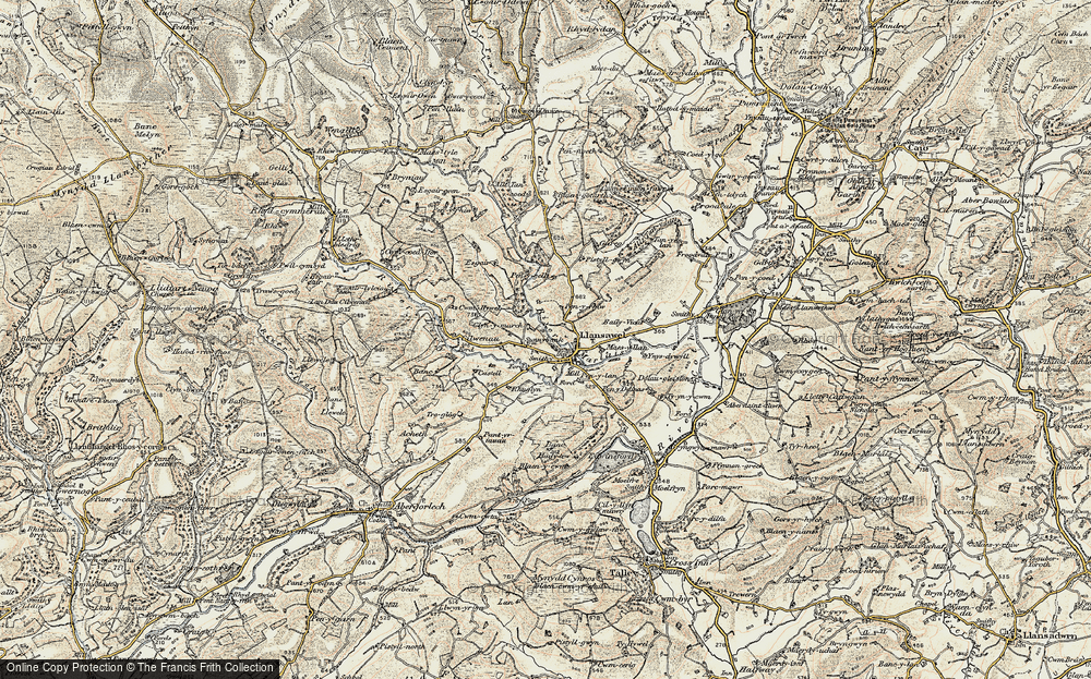 Old Map of Historic Map covering Banc Beili-Tew in 1900-1902