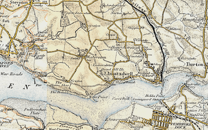 Old map of Llanstadwell in 1901-1912