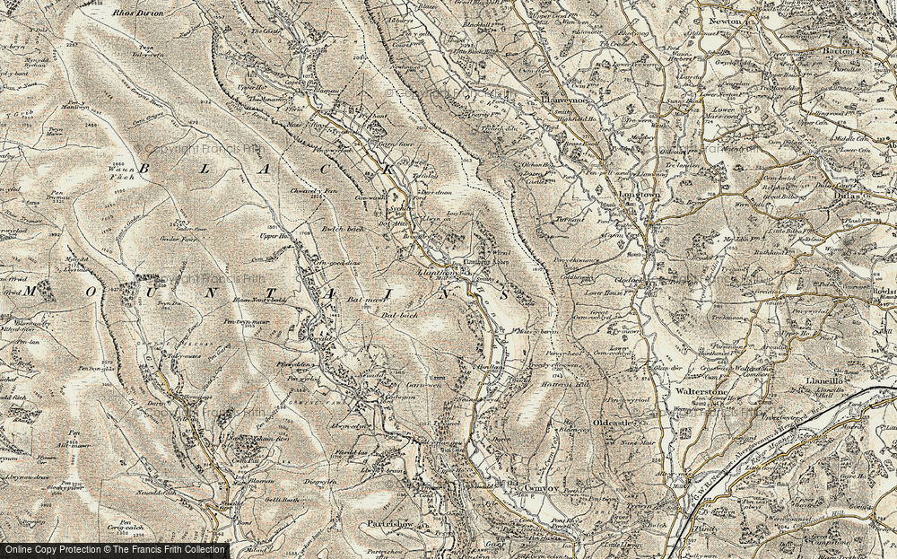 Old Map of Historic Map covering Bâl-Mawr in 1900-1901