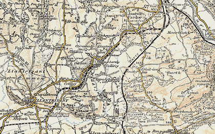 Old map of Llantwit Fardre in 1899-1900