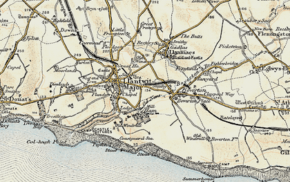 Old map of Llantwit Major in 1899-1900