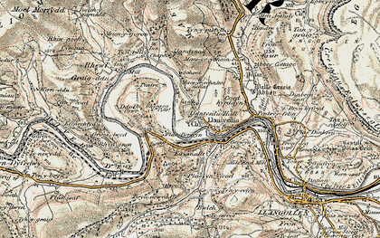 Old map of Llantysilio in 1902-1903