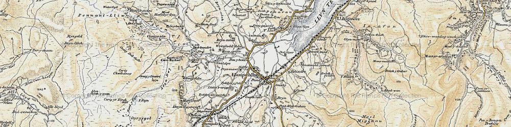 Old map of Llanuwchllyn in 1903