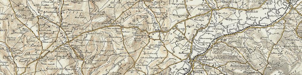 Old map of Abertegan in 1901