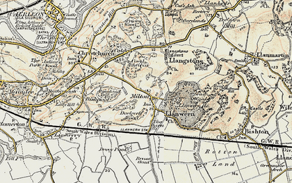 Old map of Llanwern in 1899-1900