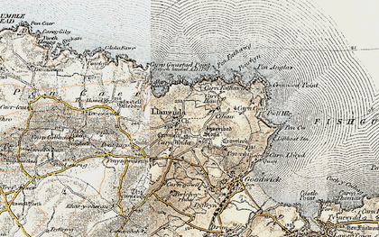 Old map of Y Globa Fawr in 1901-1912