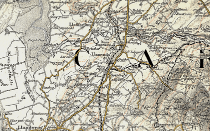 Old map of Llanwnda in 1903-1910