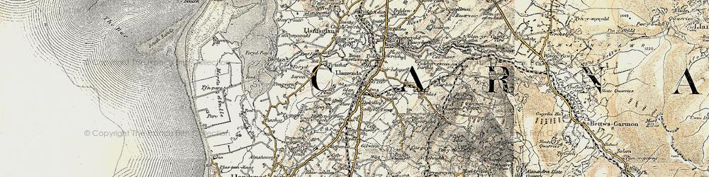 Old map of Llanwnda in 1903-1910