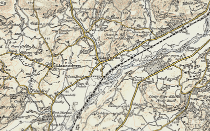 Old map of Llanwrda in 1900-1901