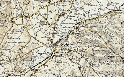 Old map of Afon Duar in 1900-1902