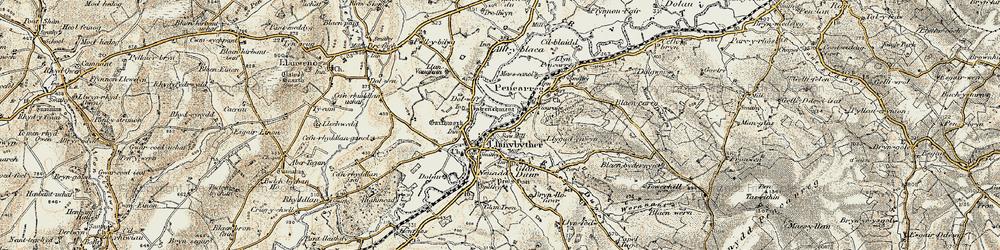 Old map of Allt Llwyn-crwn in 1900-1902