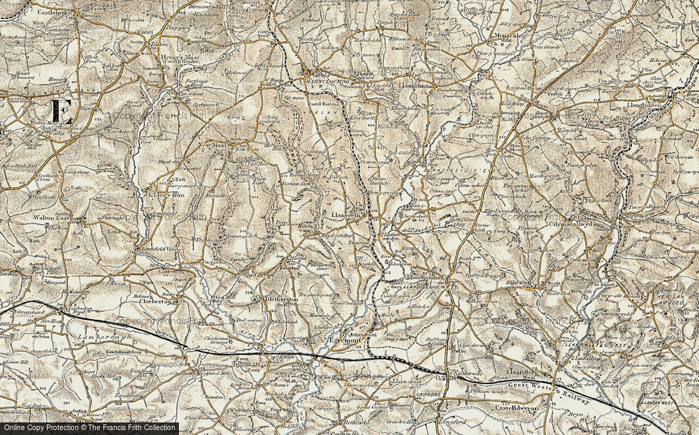 Old Map of Historic Map covering Afon Rhyd-y-bil in 1901