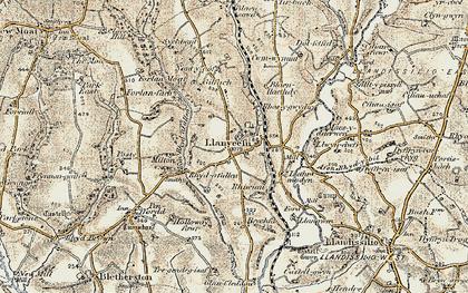 Old map of Afon Rhyd-y-bil in 1901