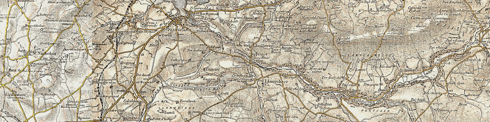 Old map of Llanychaer in 1901-1912