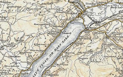 Old map of Llanycil in 1902-1903
