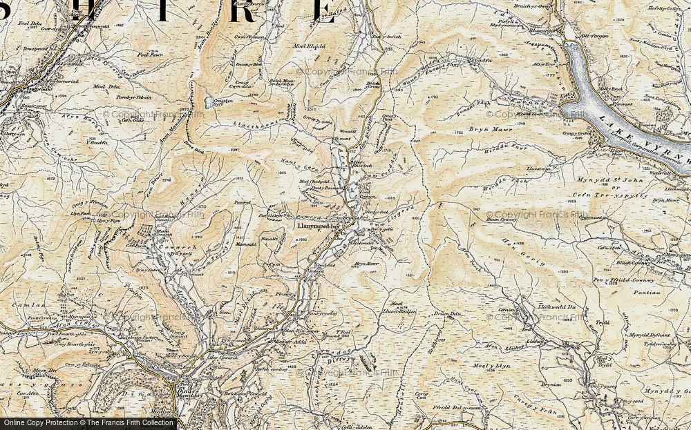 Old Map of Historic Map covering Afon Pumryd in 1902-1903