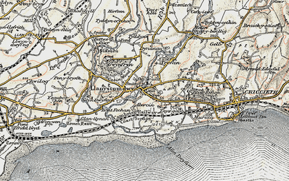 Old map of Llanystumdwy in 1903