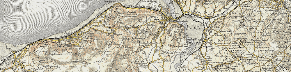 Old map of Afon Gyffin in 1902-1903