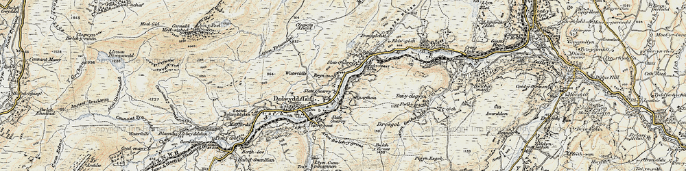 Old map of Lledr Valley in 1902-1903