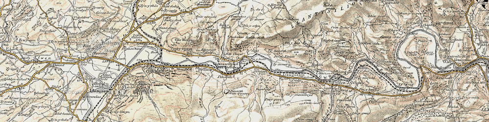 Old map of Llidiart-y-Parc in 1902-1903