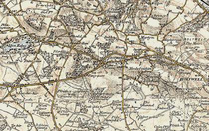 Old map of Lloc in 1902-1903