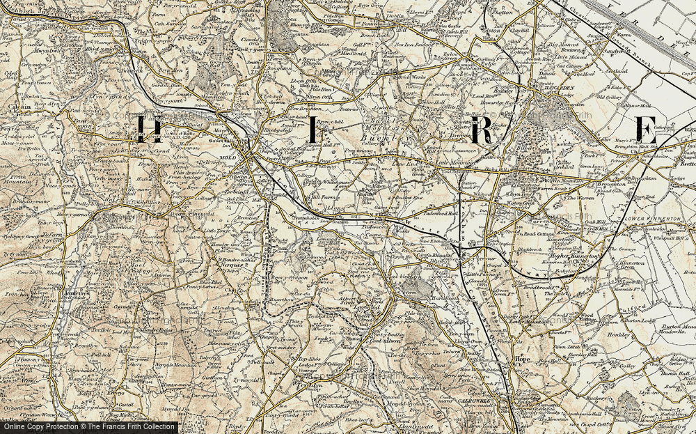 Old Map of Historic Map covering Leeswood Old Hall in 1902-1903