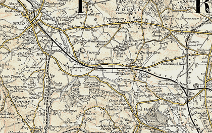 Old map of Leeswood Hall in 1902-1903