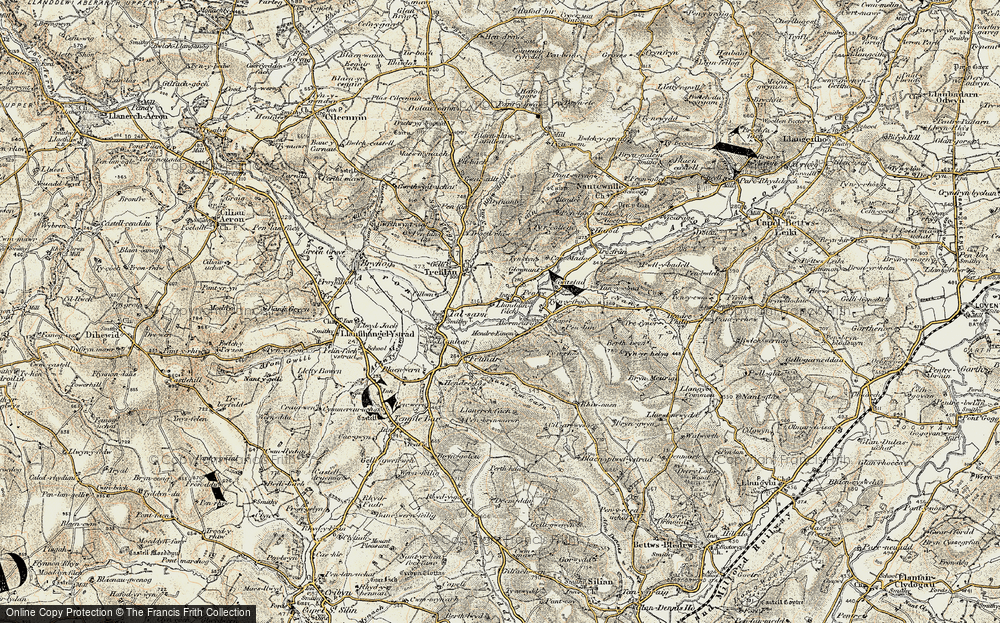 Old Map of Historic Map covering Abermeurig in 1901-1903