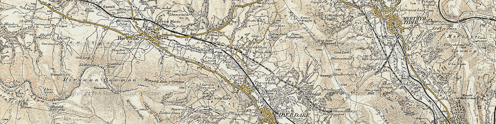 Old map of Llwydcoed in 1899-1900