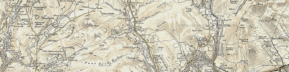 Old map of Afon Taf Fawr in 1900
